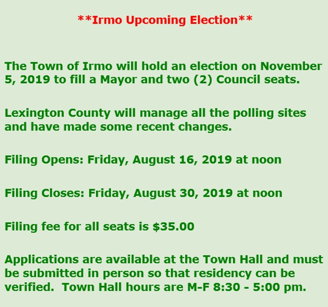 IRMO 2019 GENERAL ELECTION FILING INFORMATION