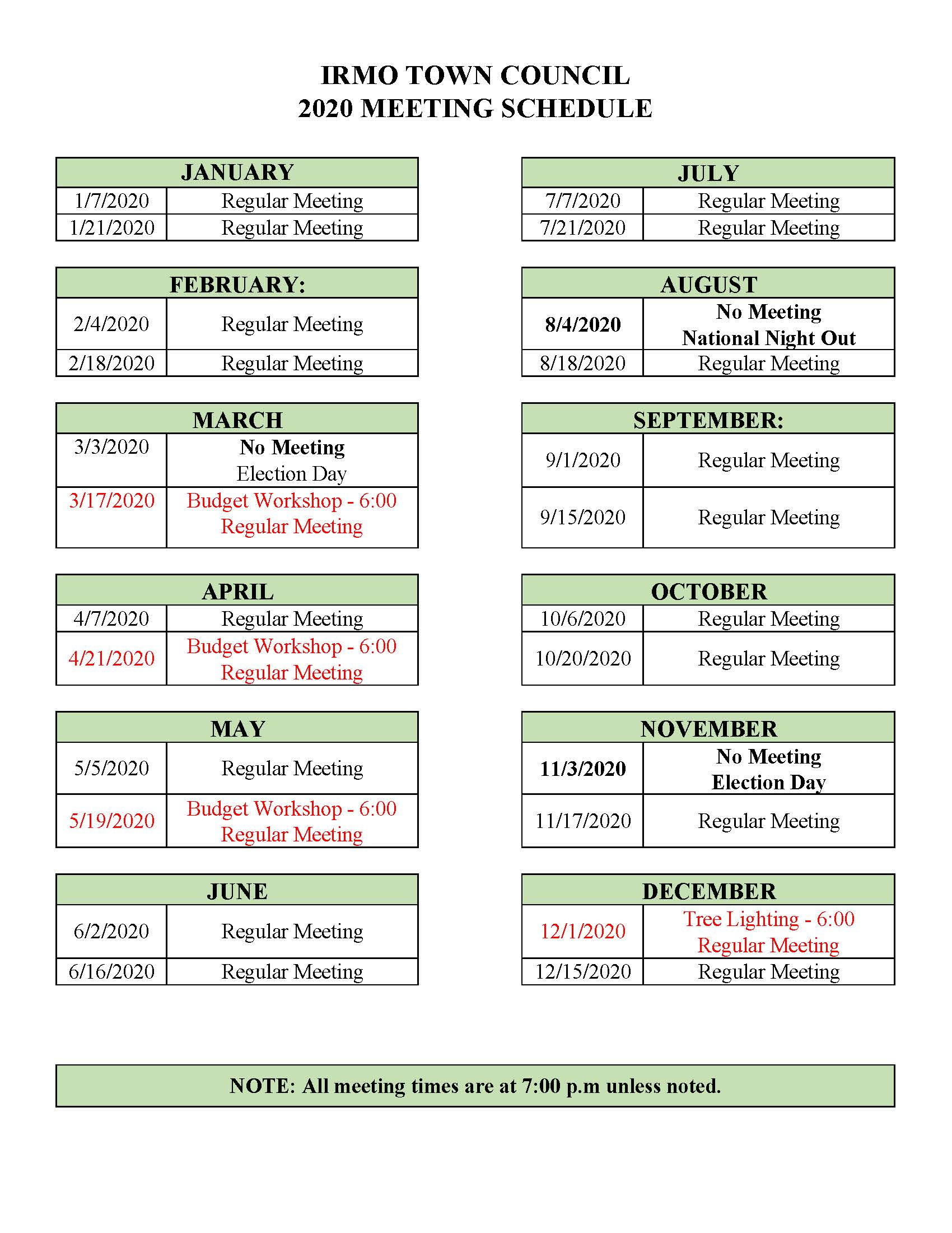 2020 Town Council Meeting Schedule @ IRMO MUNICIPAL BUILDING