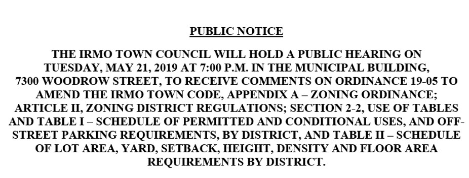 PUBLIC NOTICE - DENSITY - 05-21-19 @ IRMO MUNICIPAL BUILDING